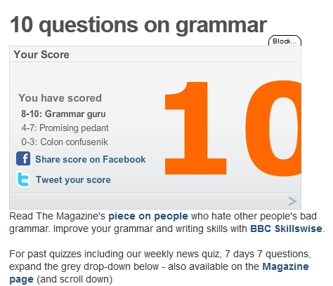 The Perfect Grammar Score
