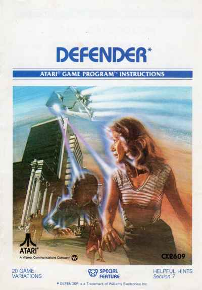 Atari 2600 Defender manual cover