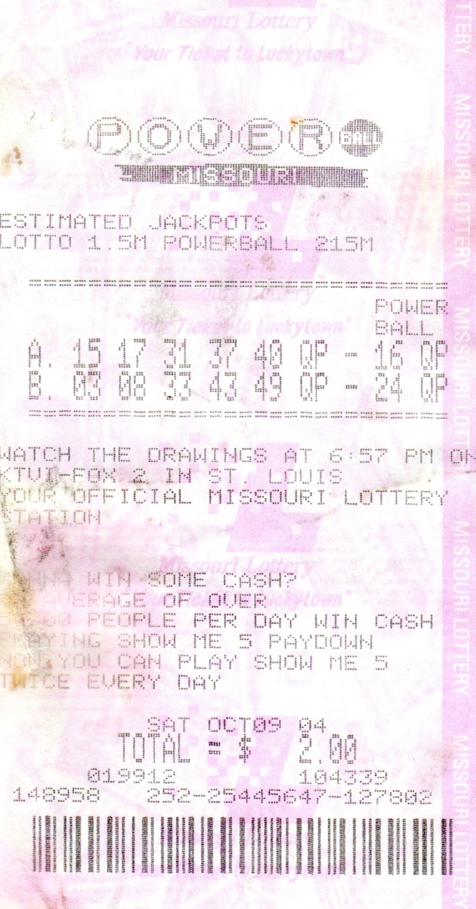 October 2004 Powerball Ticket