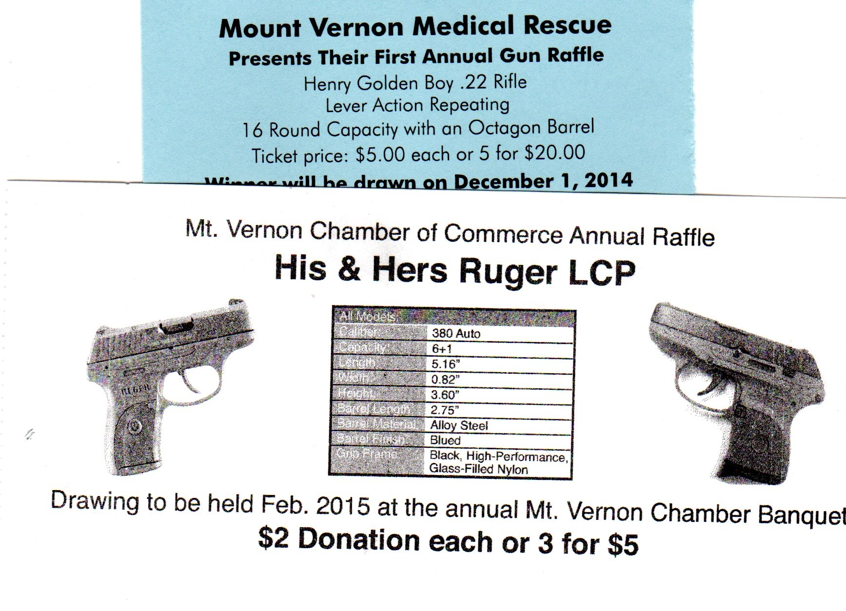 Gun raffle tickets