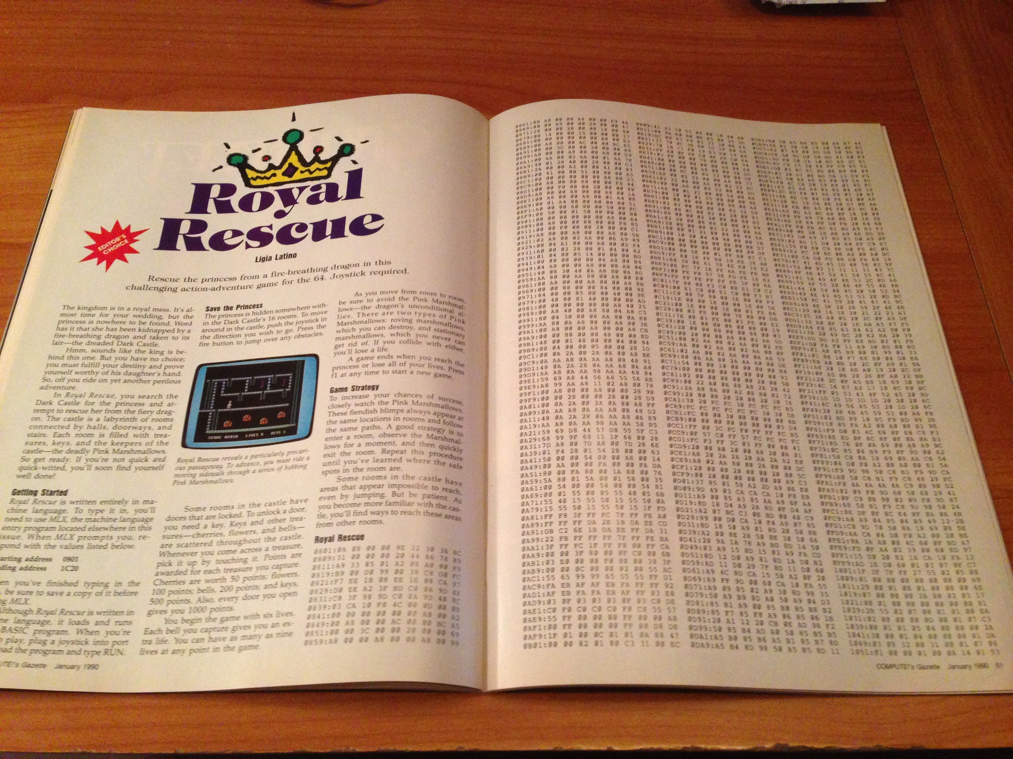 A computer program in an old magazine