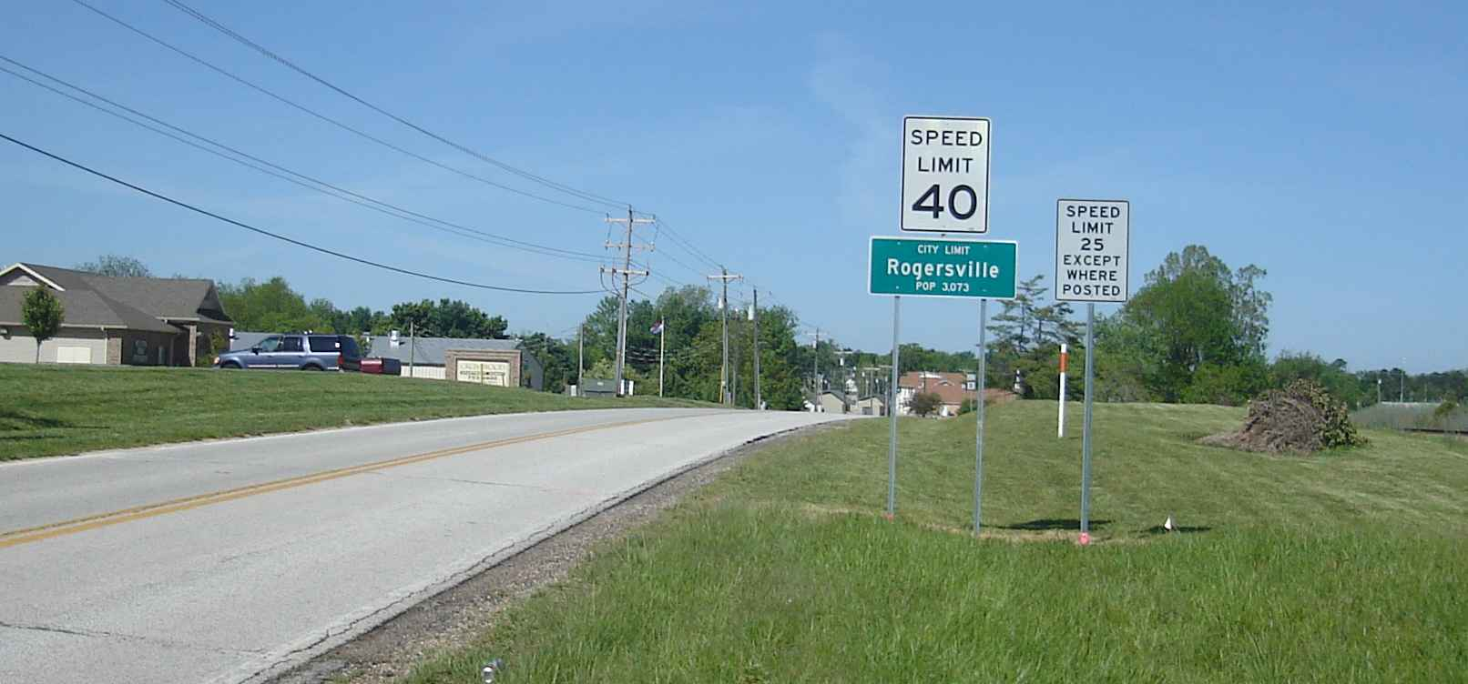 Rogerville city limit sign, population 3073