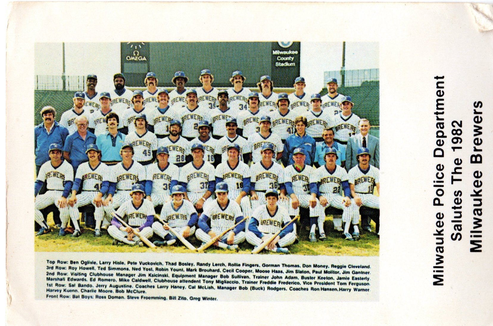 Milwaukee Police Department Salutes The 1982 Milwaukee Brewers team card