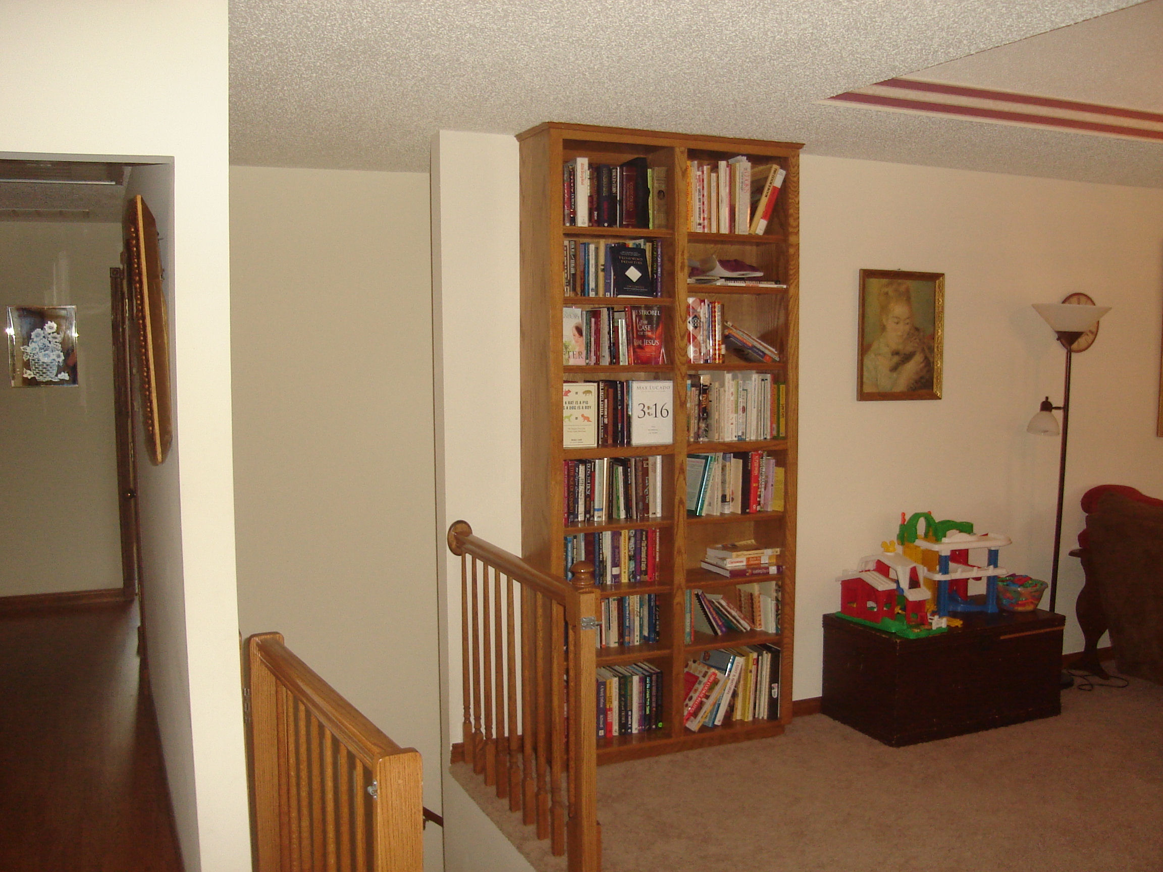 The built-in bookshelves