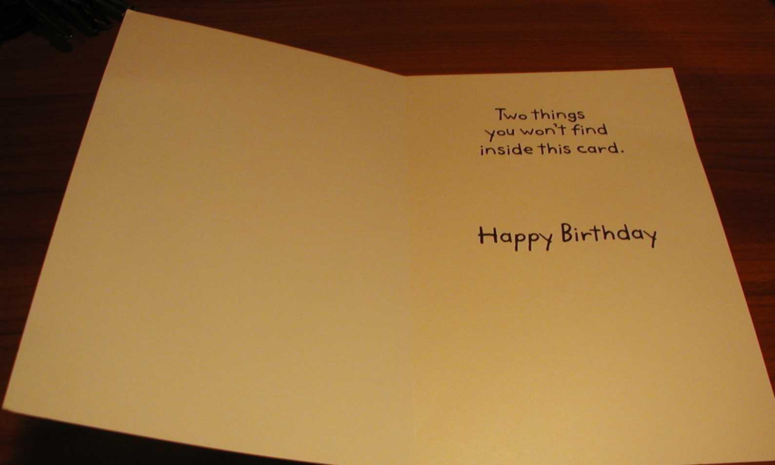 Inside birthday card.
