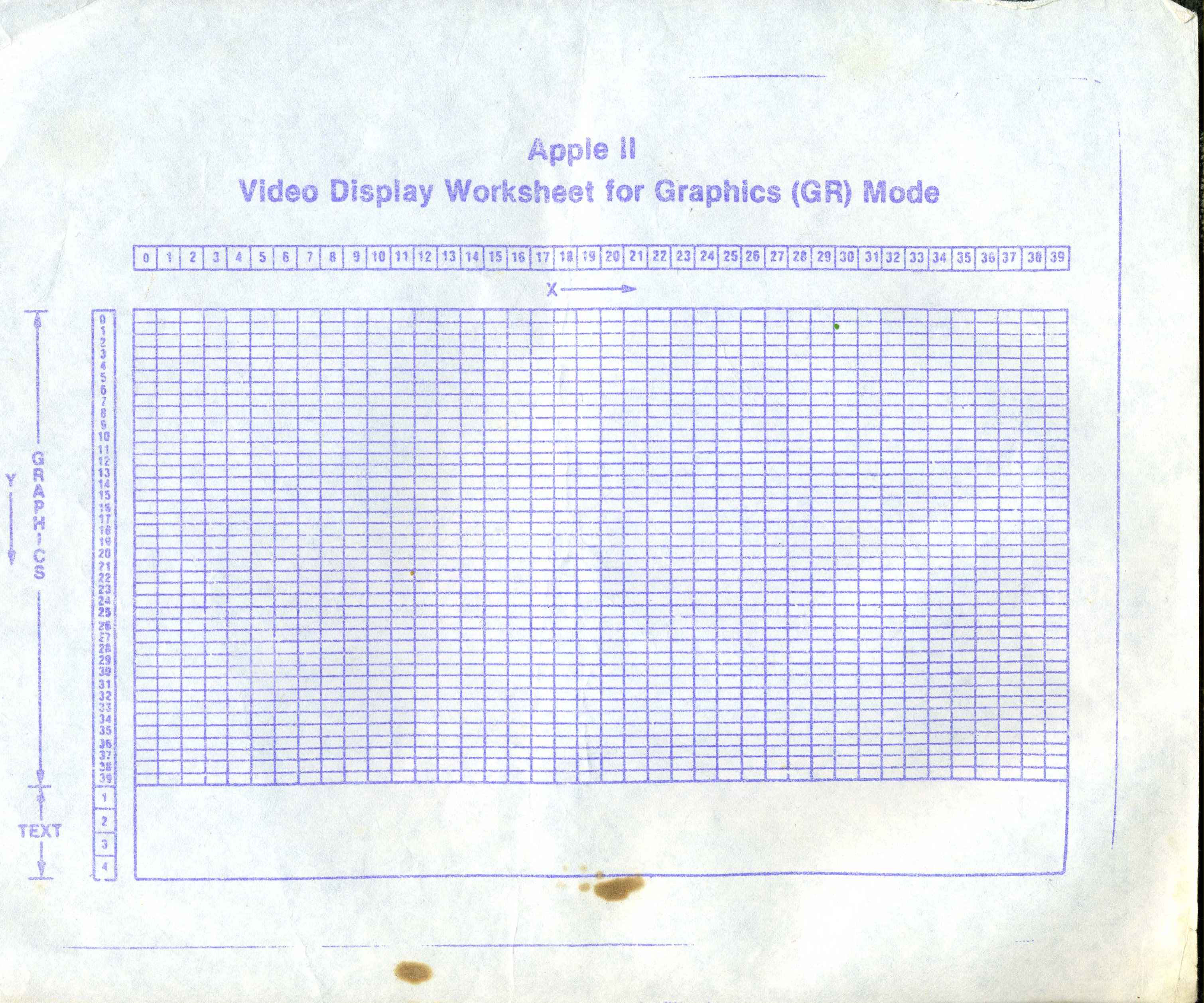Apple II Video Display Worksheet for Graphics (GR) Mode