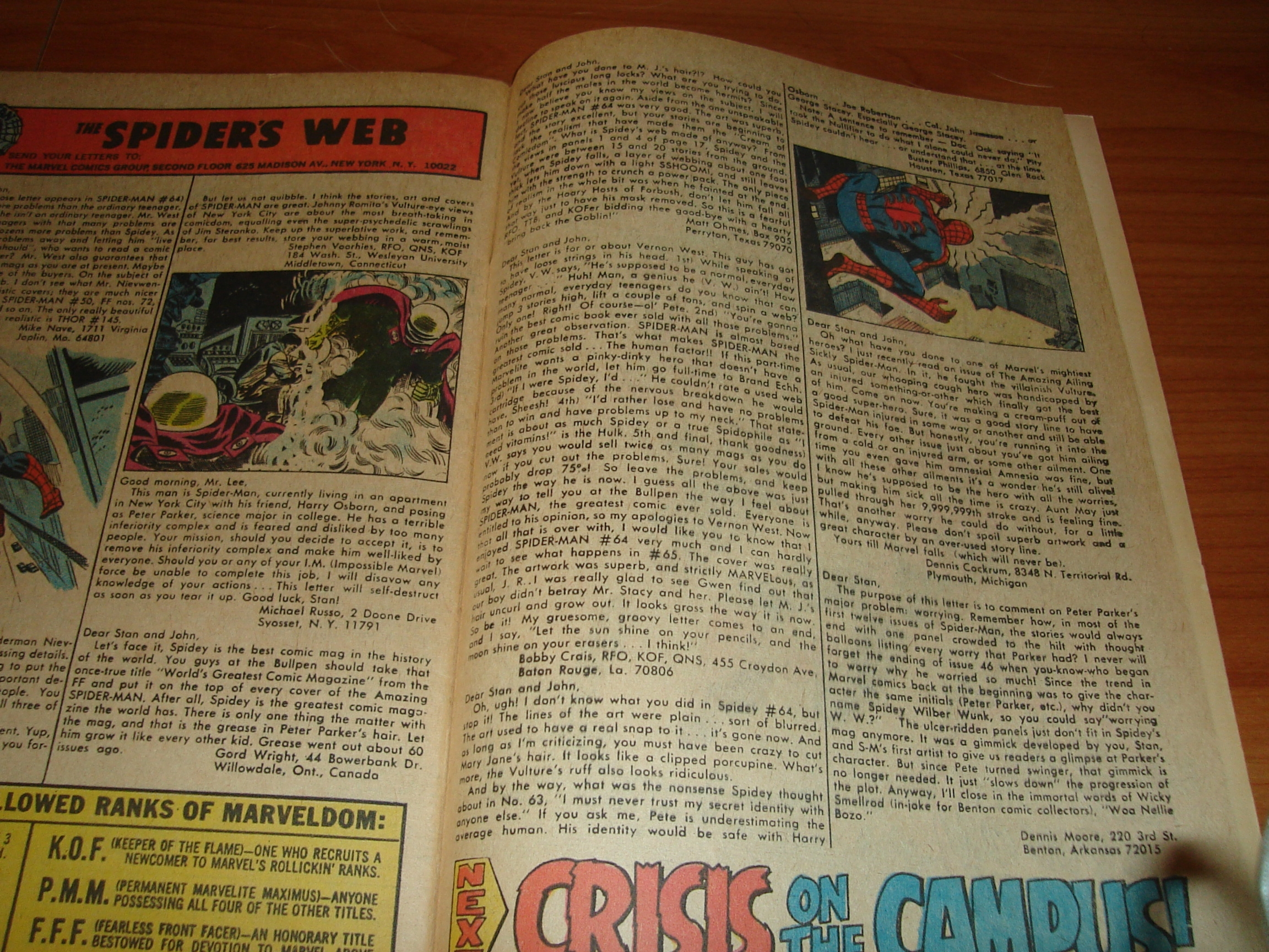 Letter from Robert Crais in Amazing Spider-Man 67
