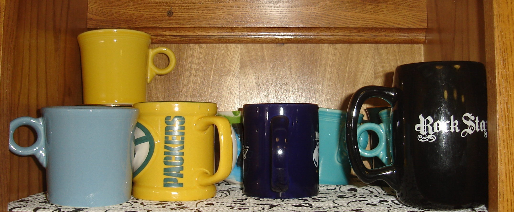 The upstairs coffee cups
