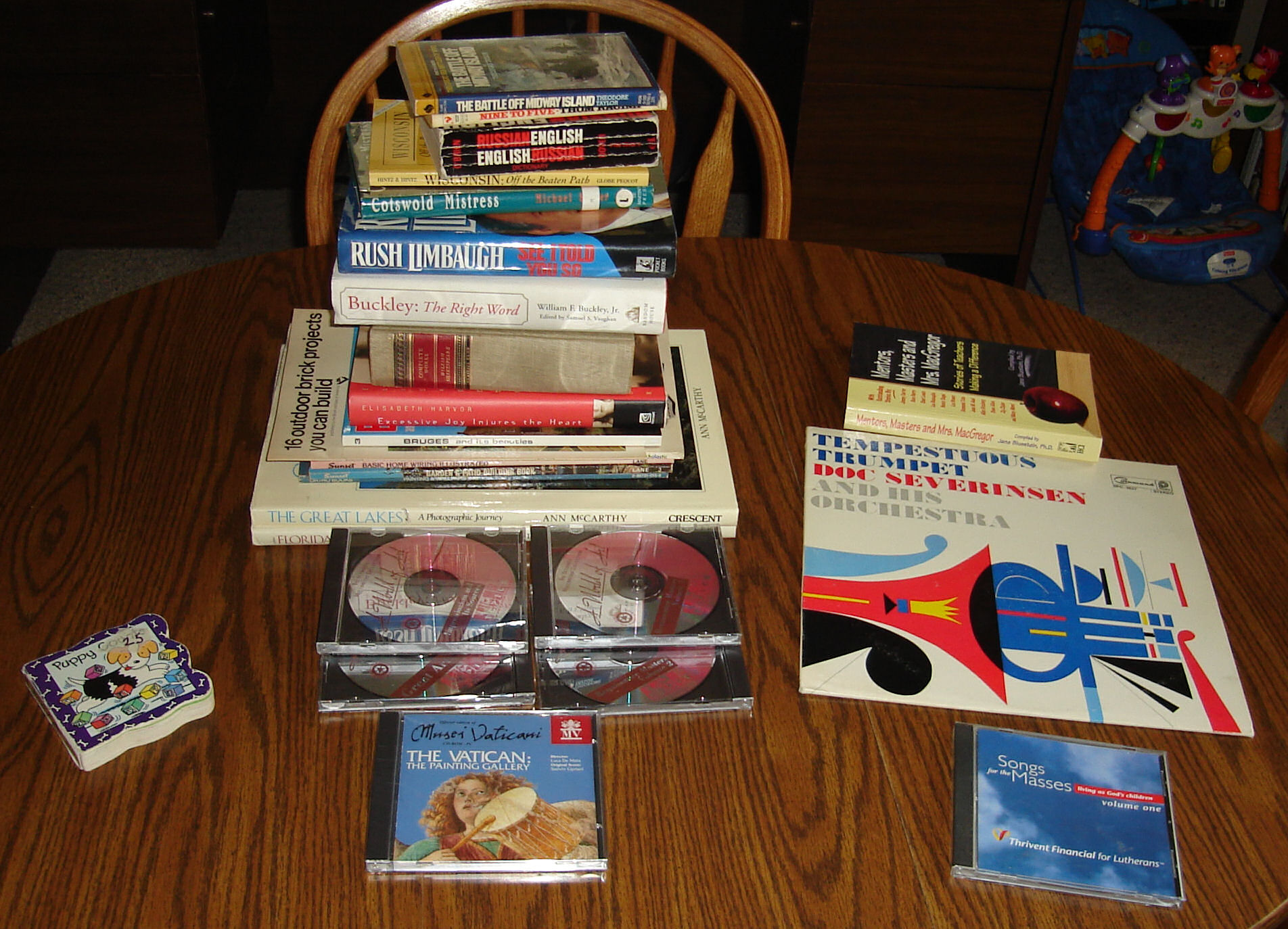 Pile of books from a church rummage sale