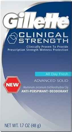Gillette Clinical Strength Antiperspirant label