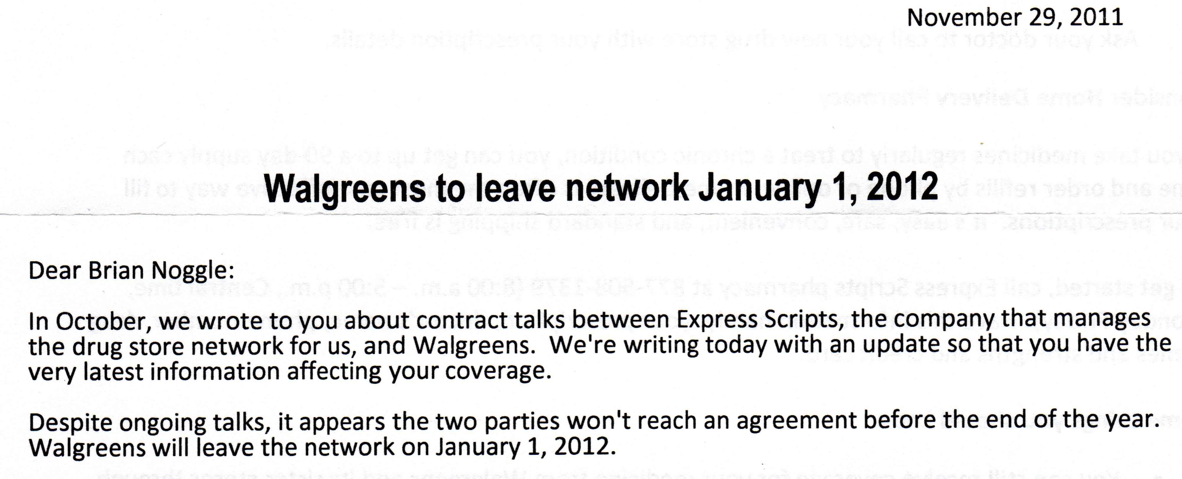 We can't reach an agreement with Walgreens.  Waaah!