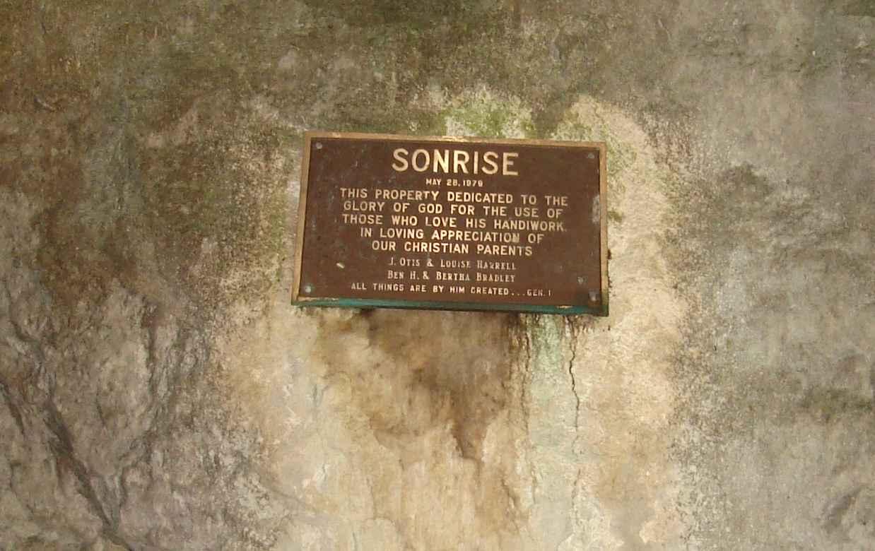 Smallin Cave Camp Sonrise plaque