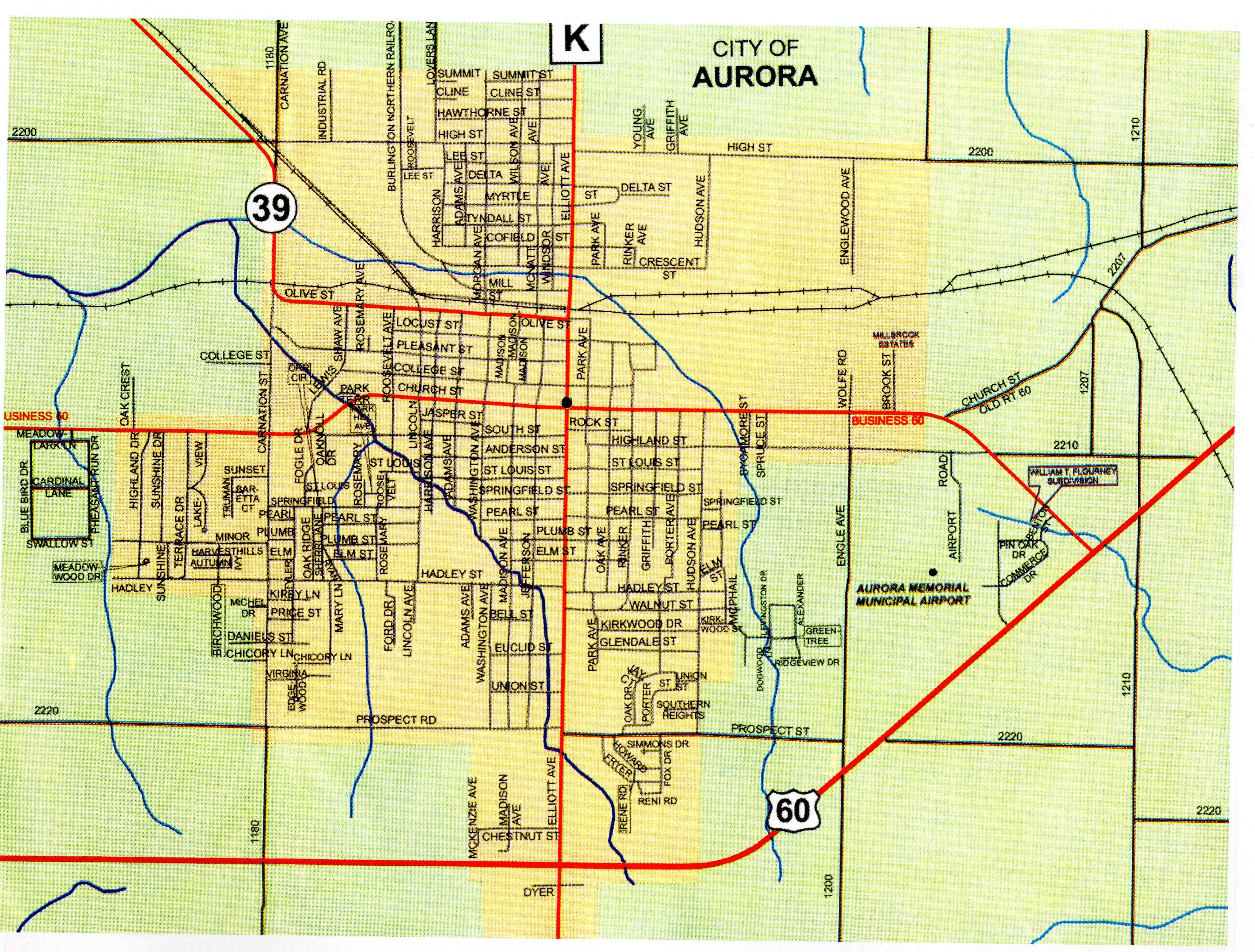 The map of Aurora lifted from the Aurora, Missouri, Chamber of Commerce 2011-2012 Community Profile & Business Directory